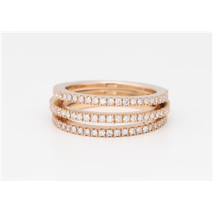 18k Rose Gold Round Diamond 3 Ring Rount Half-Attached Prong Set Half-Eternity Wedding Band(0.75 ct, G, VS1)