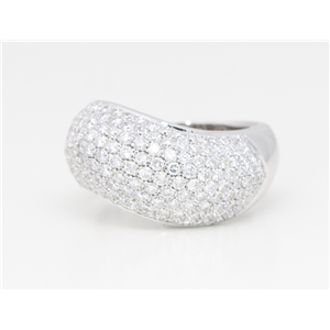 18k White Round Diamond Pave Solid Asymmetrical Wave-Effect Multi-Stone Anniversary Ring(2.5 ct, G, VS1)