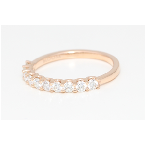 18k Rose Gold Round Diamond Multi-Stone Prong Setting Half-Eternity Engagement Ring (0.6 Ct, G , VS1 )