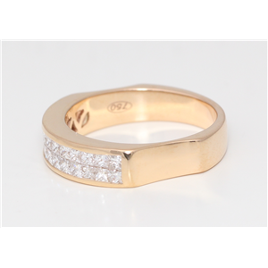 18k Rose Gold Princess Diamond Multi-Stone Double-Row Half-Eternity Side Indented Ring(1 ct, G, VS1)