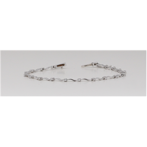 18k White Gold Round Diamond Prong Setting Interval Stone Tennis Bracelet With Wave Design (0.3 Ct, G , VS1 )