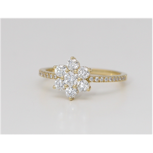 18k Yellow Gold Round Prong Set Cluster Flower Engagement Ring With Diamond Set Shank (0.75 Ct, G , VS2 )