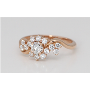 18k Rose Gold Round Diamond Multi-Stone Asymmetrical Prong Set Cluster Flower Ring(0.78 ct, G, VS2)