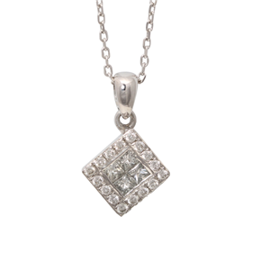 18k Gold Princess Diamond White On Invisible Setting Square-Shaped Necklace Pendant (0.41 Ct, G , VS1 )