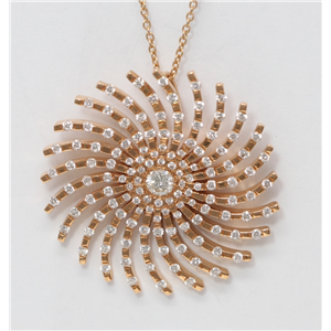 18k Rose Gold Round Diamond Multi-Stone Stone Prong Spinning Starburst Necklace Pendant(1.25 ct, G, VS1)