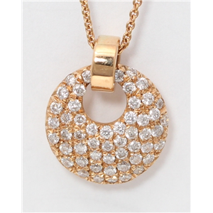 18k Rose Gold Round Diamond Setting Multi-Stone Clustered Pave Circle-Shaped Necklace Pendant(0.3 Ct, G, VS1)