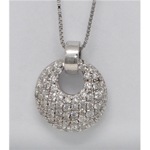 18k White Gold Round Diamond Setting Multi-Stone Clustered Pave Circle-Shape Necklace Pendant(0.3 ct, G, VS1)