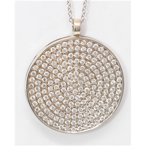18k White Gold Round Diamond Setting Pave Large Clustered Disc Medallion Pendant Necklace (1.65 Ct, G , VS )