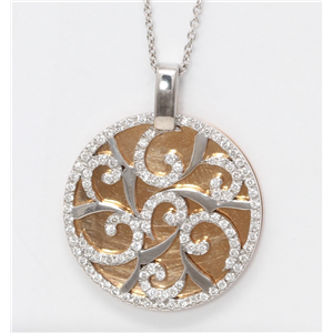 18k Rose & white Gold Diamond Disc Medallion Covered With Spiral Prong Lattice Necklace Pendant 0.85 ct,G,VS1