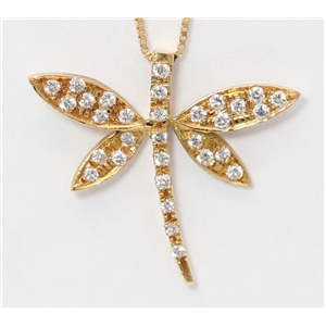 18k Yellow Gold Round Diamond Prong Multi-Stone Stone Dragonfly Insect Pendant Necklace(0.16 ct, G, VS)