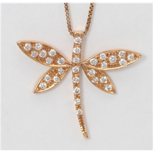 18k Rose Gold Round Diamond Prong Setting Multi-Stone Dragonfly Necklace Pendant (0.16 Ct, G , VS1 )