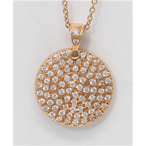 18k Rose Gold Round Diamond Clustered Pave Setting Circle-Shaped Medallion Necklace Pendant (0.5 Ct, G, VS1 )