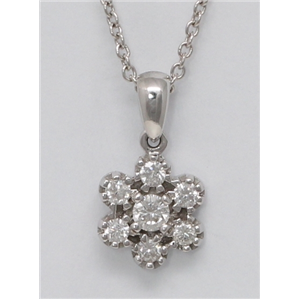 18k White Gold Round Diamond Clustered Prong Set Multi-Stone Stone -Shape Necklace Pendant(0.31 ct, G, VS1)