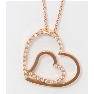 18k Rose Gold Round Diamond Multi-Stone Prong Double Open Heart-Shape Necklace Pendant(0.2 ct, G, VS)
