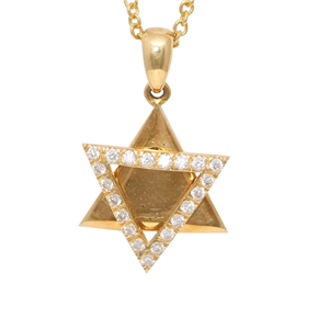 18k Yellow Gold Diamond Multi-Stone Prong Double Triangle Star of David Necklace Pendant(0.15 ct, G, VS1)