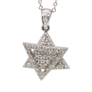 18k White Gold Round Diamond Double Triangle Prong Setting Star of David Necklace Pendant (0.5 Ct, G , VS1 )
