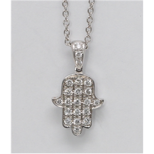 18k White Gold Round Diamond Multi-Stone Pave Setting Good Luck Charm Hamsa Necklace Pendant(0.25 Ct, G, VS1)