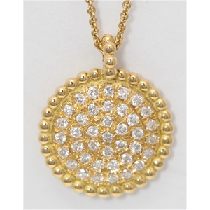 18k Yellow Gold Round Diamond Setting Multi-Stone Stone Pave Flat Disc-Shape Necklace Pendant(0.2 ct, G, VS)