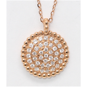18k Rose Gold Round Diamond Setting Multi-Stone Stone Pave Flat Disc-Shaped Necklace Pendant (0.2 Ct, G, VS)