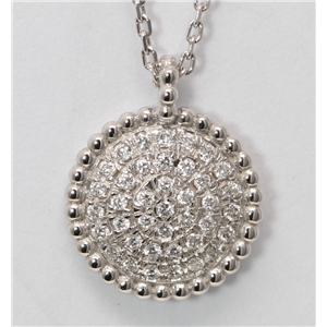 18k White Gold Round Diamond Setting Multi-Stone Stone Pave Flat Disc-Shaped Necklace Pendant(0.2 Ct, G, VS)