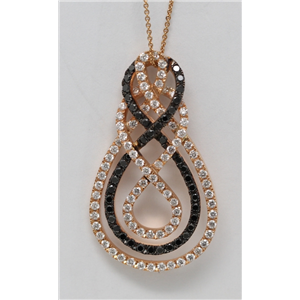 18k Rose Gold Round Diamond Single Row Black & White Elliptical Celtic Knot Necklace Pendant (1.6 Ct, G, VS1)