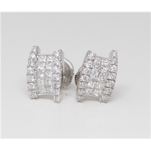 18k White Gold Princess & Round Diamond Multi-Stone Set Studs With La Pousette Back(1.25 ct, G, VS1)