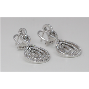18k White Gold Round Diamond Prong Set Multi-Stone Row Tear Drop Shape Latch Back Earrings(1.75 ct, G, VS1)