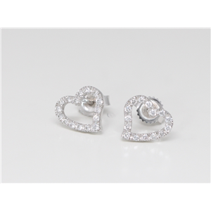 18k White Gold Round Diamond Prong Setting Single Row Open Heart-Shaped Push Back Studs(0.2 ct, G, VS1)