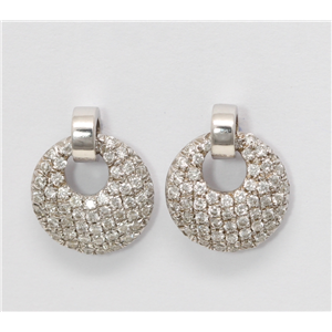 18k White Gold Round Diamond Setting Multi-Stone Pave Set Earrings With La Pousette Backing(0.6 ct, G, VS1)