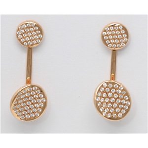 18k Rose Gold Round Diamond Pave Double Circle Drop Earrings With La Pousette Closure(1.15 ct, G, VS1)