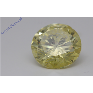 Round Loose Diamond (5.08 Ct Fancy Vivid Yellow(Irradiated) I1(Enhanced laser Drilled) Clarity) IGL