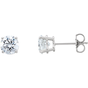 Round Diamond Stud Earrings 14k White Gold (1.03 Ct,F-g Color,SI2-SI3(Clarity Enhanced) Clarity)