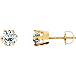 Round Diamond Stud Earrings 14k Yellow Gold 1.01 Ct,K Color,SI1 Clarity Enhanced Clarity