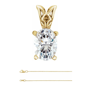 Oval Diamond Solitaire Pendant Necklace 14k Yellow Gold (0.6 Ct,E Color,VVS1 Clarity) HRD Certified