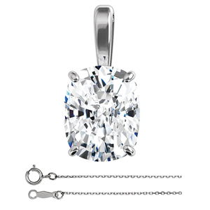 Cushion Diamond Solitaire Pendant Necklace 14K White Gold (1 Ct,F Color,VS2(Clarity Enhanced) Clarity) IGL