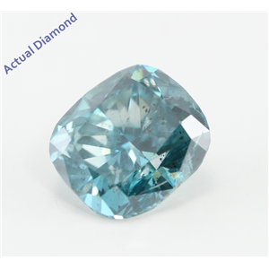 Cushion Cut Loose Diamond (3.04 Ct, Fancy Sky Blue (Color Irradiated) Color, SI2(Clarity Enhanced,Laser Drilled) Clarity) IGL Certified