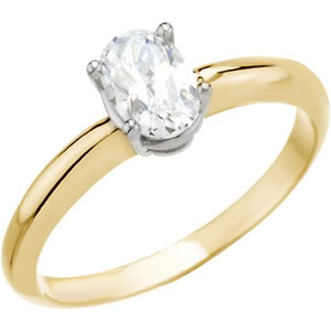 Oval Diamond Solitaire Engagement Ring 14k Yellow Gold 0.52 Ct, (D Color, SI3(Laser Drilled) Clarity)
