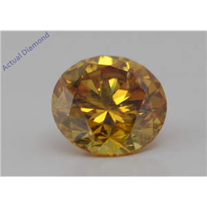 Round Cut Loose Diamond (0.71 Ct,Natural Fancy Vivid Orange-yellow Color,I1 Clarity) GIA Certified