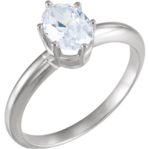Oval Diamond Solitaire Engagement Ring,14K White Gold (0.91 Ct,I Color,VS1 Clarity) AIG Certified