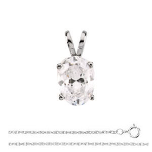 Oval Diamond Solitaire Pendant Necklace 14k White Gold (0.91 Ct,I Color,VS1 Clarity) AIG Certified