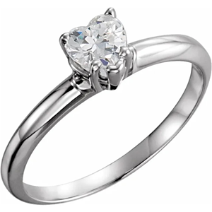 Heart Diamond Solitaire Engagement Ring,14k White Gold (0.97 Ct,G Color,SI1 Clarity) GIA Certified