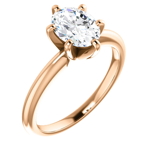 Oval Diamond Solitaire Engagement Ring,14K Rose Gold (1.03 Ct,G Color,VS2 Clarity) GIA Certified