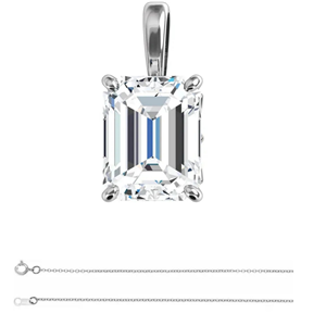 Emerald Prince(Branded Shape ) Diamond Solitaire Pendant Necklace 14k White Gold (0.99 Ct E Color VS2 Clarity) GIA