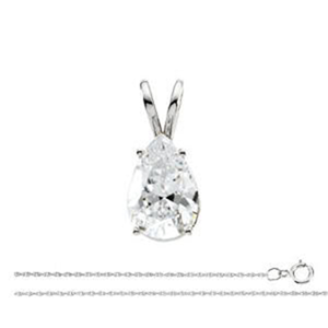 Pear Diamond Solitaire Pendant Necklace 14k White Gold (1 Ct,F Color,VS1 Clarity) GIA Certified