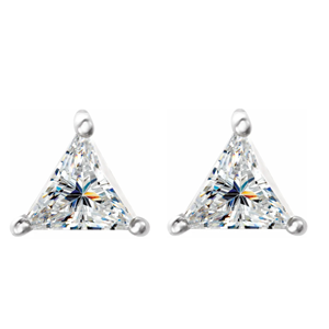 Triangle Diamond Stud Earrings 14K White Gold (1.84 Ct,F-G Color,Si1-Si2 Clarity Gia Certified)
