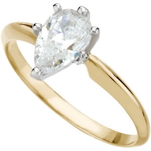 Pear Diamond Solitaire Engagement Ring 14k Yellow Gold 0.59 Ct, (E Color, SI1(K.M) Clarity)