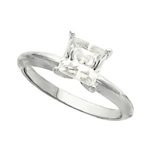 Princess Diamond Solitaire Engagement Ring 14k White Gold 0.5 Ct, (G Color, VVS2 Clarity)