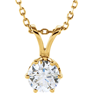 Round Diamond Solitaire Pendant Necklace 14k Yellow Gold (0.7 Ct,H Color,VVS1 Clarity) GIA Certified
