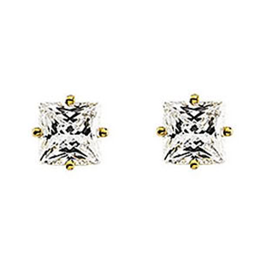 Princess Diamond Stud Earrings 14k Yellow Gold (1.83 Ct, K Color, VS2 Clarity)