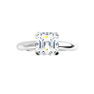 Asscher Diamond Solitaire Engagement Ring,14K White Gold (0.91 Ct,E Color,Vs1 Clarity) Gia Certified